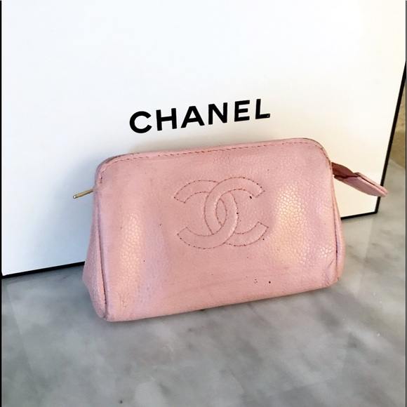 e2b73fb1dff665 CHANEL Bags | Auth Baby Pink Vintage Cosmetic Bag Pouch | Poshmark